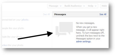 Private Messages in New Facebook Page Layout 2012